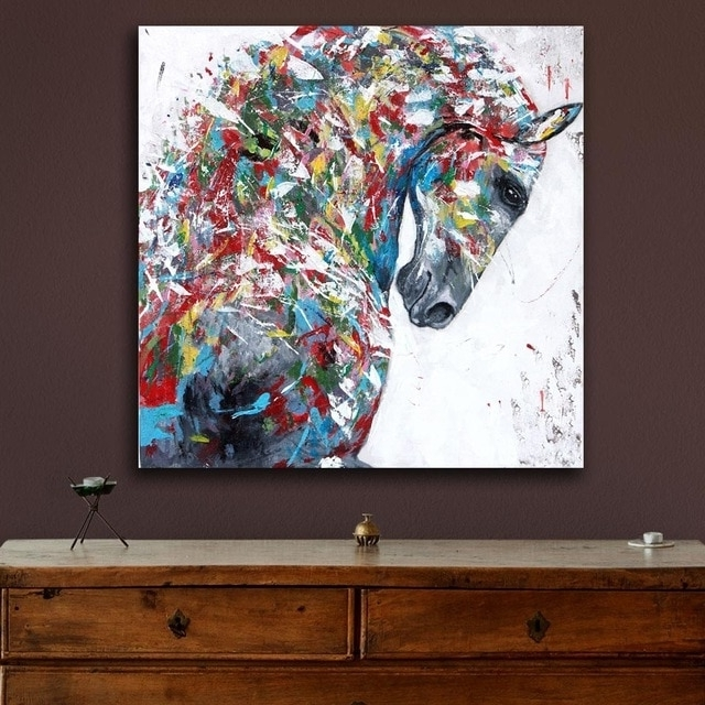 Well Known Oil Painting Wall Art On Canvas With Oil Painting Modern Multicolored Horse Painting Wall Decor Painted (View 14 of 15)