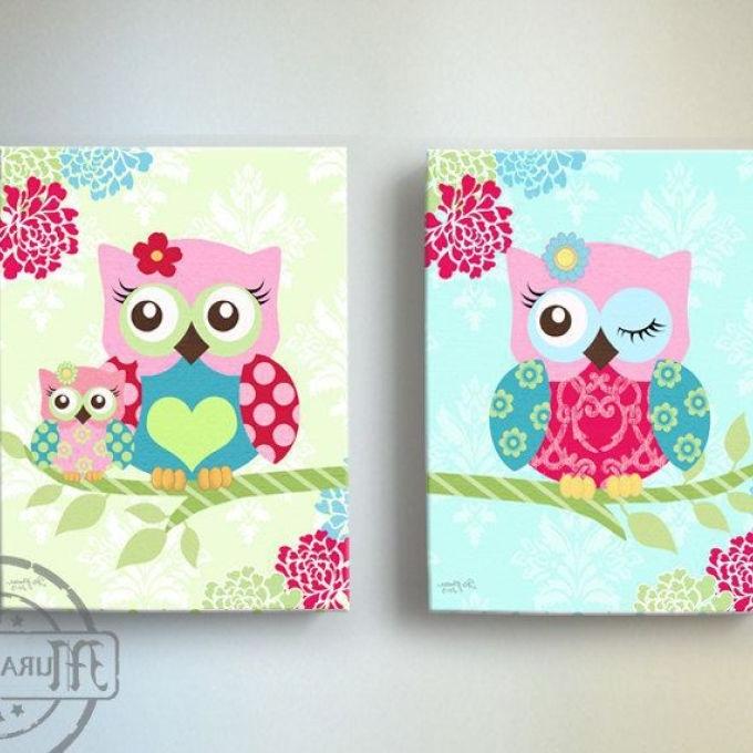 Well Known Owl Nursery Decor Owl Canvas Art, Baby Girl Nursery Owl, Owl Canvas With Canvas Prints For Baby Nursery (View 14 of 15)