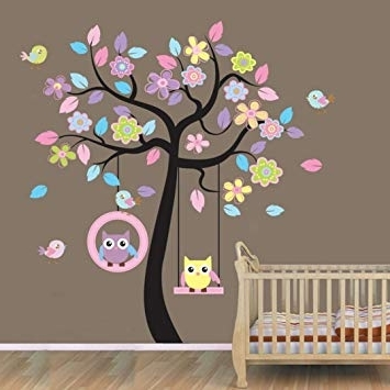 Well Known Owl Wall Art Stickers Inside Amazon: Hatop Owl Cartoon Animals Birds Nursery Wall Art (View 13 of 15)