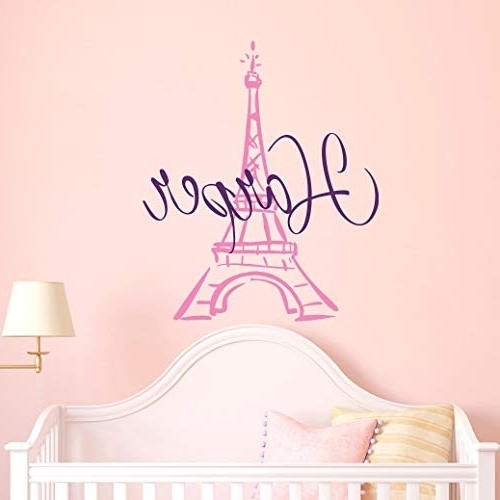Well Known Paris Theme Nursery Wall Art For Amazon: Eiffel Tower Wall Decal Name – Girls Name Decal (View 11 of 15)