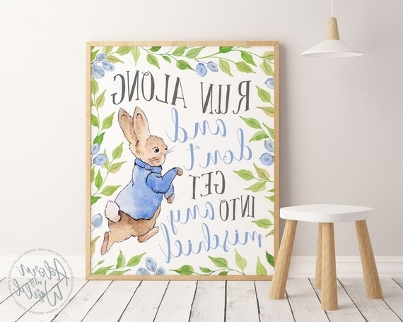 Well Known Peter Rabbit Wall Art Inside Peter Rabbit Prints Nursery Wall Art Peter Rabbit Nursery (View 13 of 15)