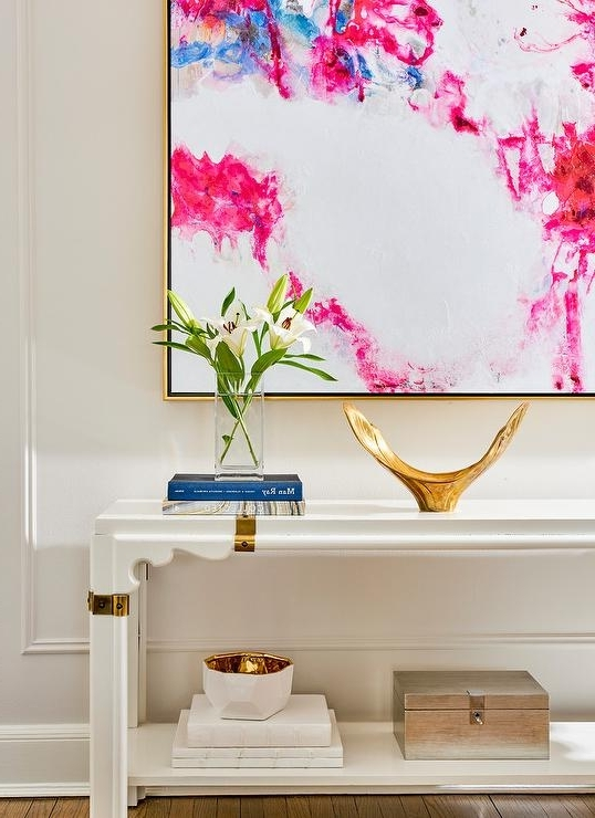 Well Known Pink Abstract Wall Art In White And Hot Pink Abstract Art With White And Gold Console Table (View 7 of 15)