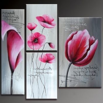 Well Known Pink Flowers Modern Canvas Art Wall Decor Floral Oil Painting Wall With Regard To Pink Flower Wall Art (View 11 of 15)