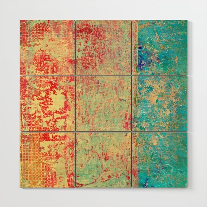 Well Known Red And Turquoise Wall Art Within Brilliant Encounter, Abstract Art Turquoise Red Wood Wall Art (View 15 of 15)
