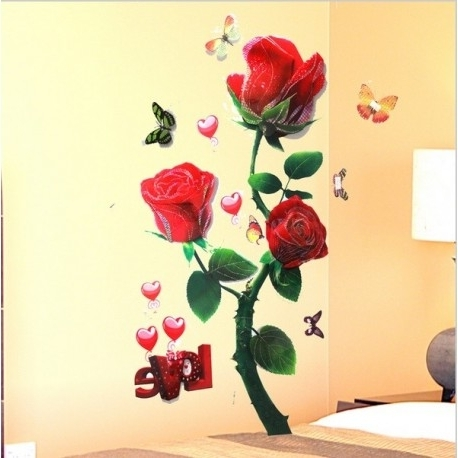 Well Known Romantic Rose 3D Effect Wall Art Stickers, Wall Stickers 3D (View 11 of 15)