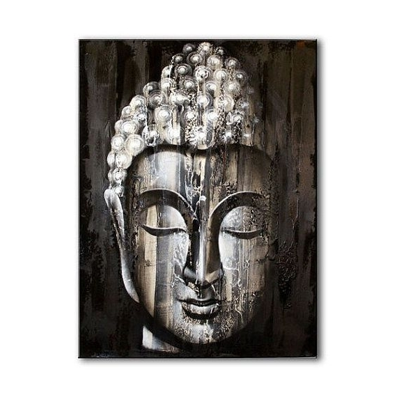 Well Known Silver Buddha Wall Art In Wood Buddha Silver – Painting; Handmade, Wall Art, Wall  Hanging (View 2 of 15)