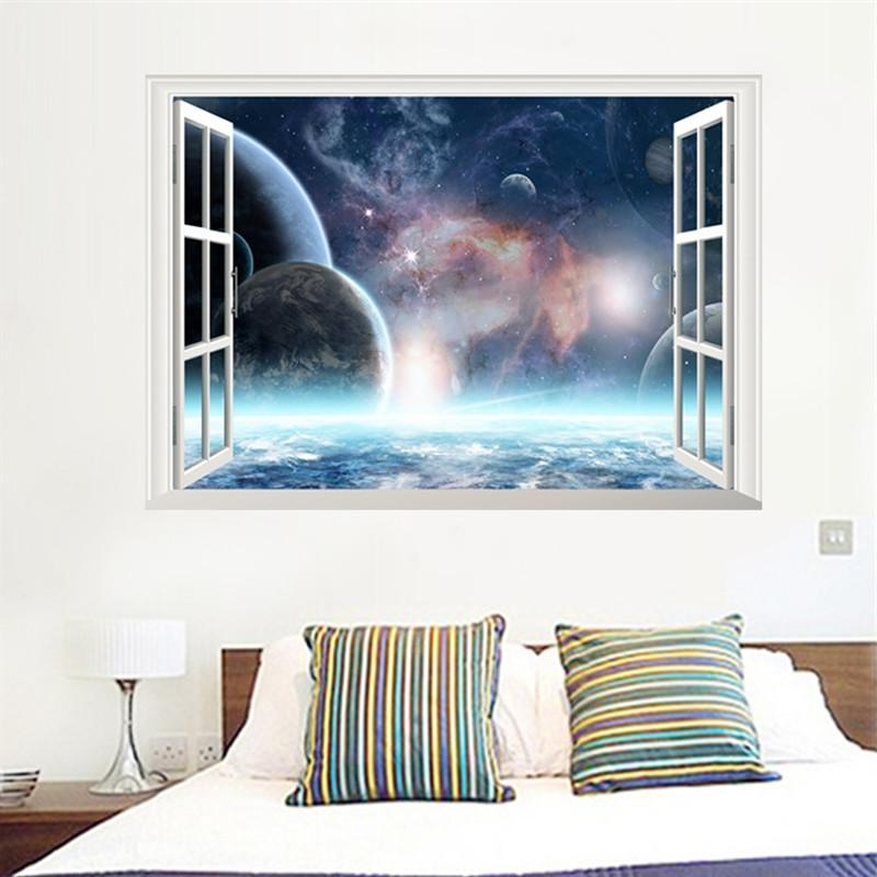 Well Known Space 3D Vinyl Wall Art For 3D Effect Outer Space Window Wall Stickers Living Room Bedroom Wall (View 15 of 15)