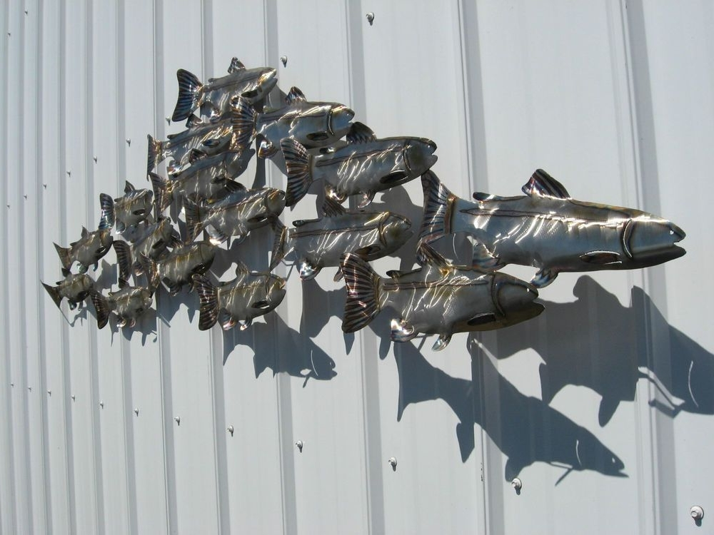 Well Known Stainless Steel Fish Wall Art Pertaining To Giant Stainless Steel School Of Fish Metal Art Wall Sculpture (View 11 of 15)