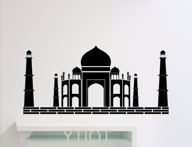 Well Known Taj Mahal Wall Sticker Art Agra Famous Landscape Poster Indian Pertaining To Taj Mahal Wall Art (View 7 of 15)