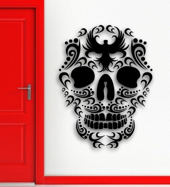 Well Known Tattoo Wall Art In Cool Tribal Tattoo Wall Sticker Vinyl Art Design Sugar Skull Death (View 14 of 15)