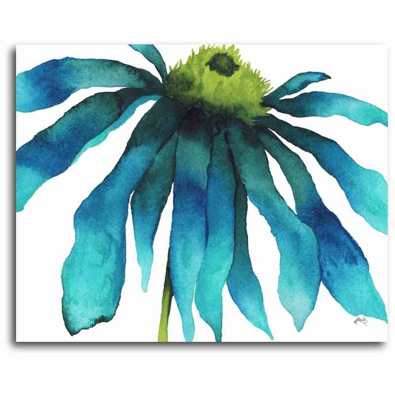 """Well Known Teal Flower Canvas Wall Art Regarding Azure Flowerflow 16"""" X 20"""" Canvas Wall Art – Sale (View 12 of 15)"""
