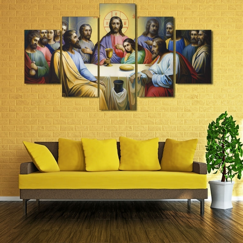 Well Known The Last Supper Wall Art Regarding The Last Supper Painting Wall Art Canvas Hd Print Christian Catholic (View 9 of 15)