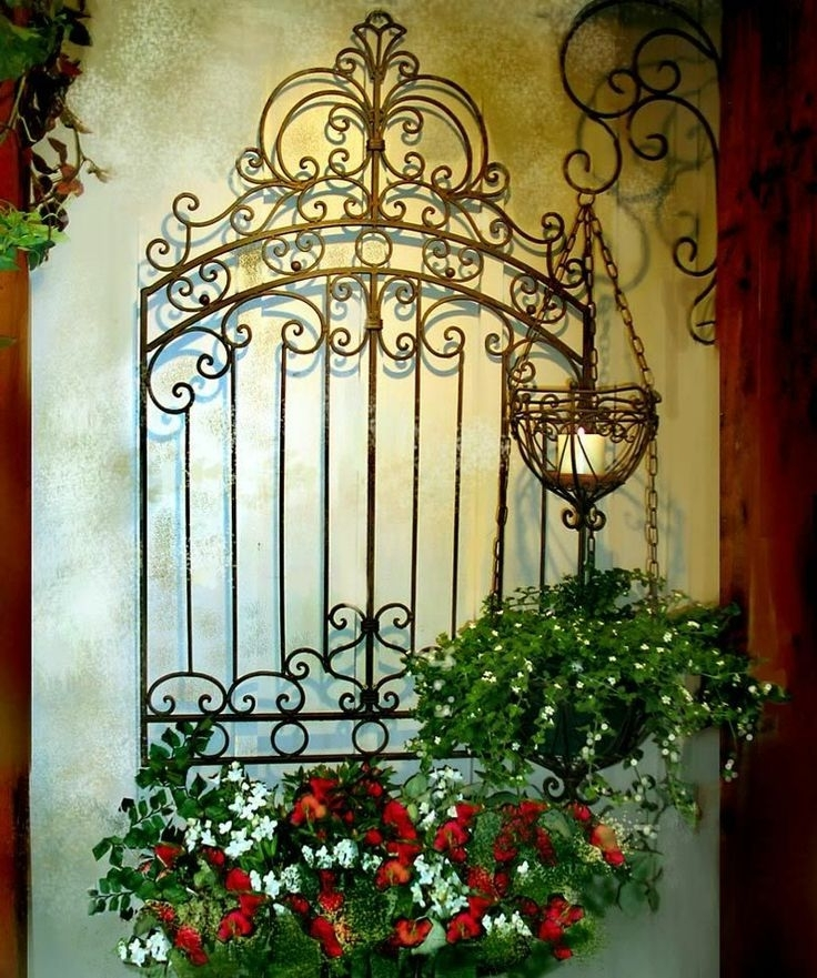 Well Known Tuscan Garden Gate Wall Grille Panel Metal Art Grill (View 11 of 15)