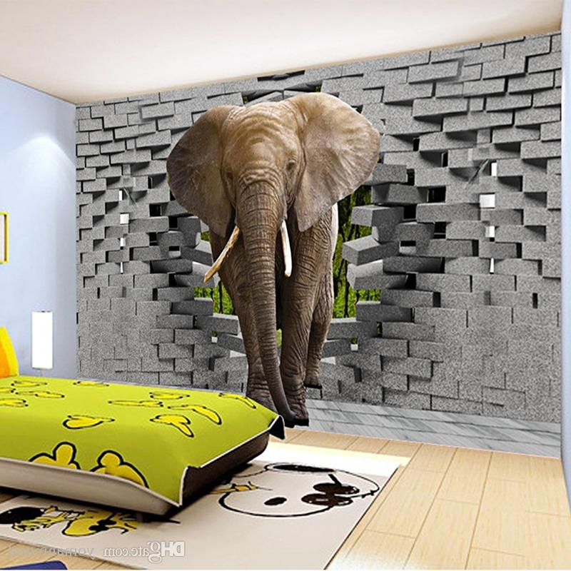 Well Known Venezuela Wall Art 3D For Custom 3D Photo Wallpaper Lifelike Elephant Wall Breaching Art Wall (View 3 of 15)