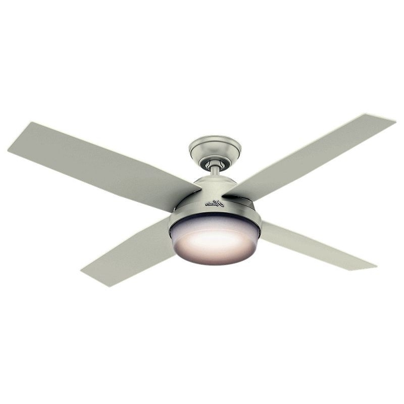 "Well Known View The Hunter Dempsey 52 Damp 52"" Outdoor Ceiling Fan – 4 In Hunter Outdoor Ceiling Fans With White Lights (View 15 of 15)"