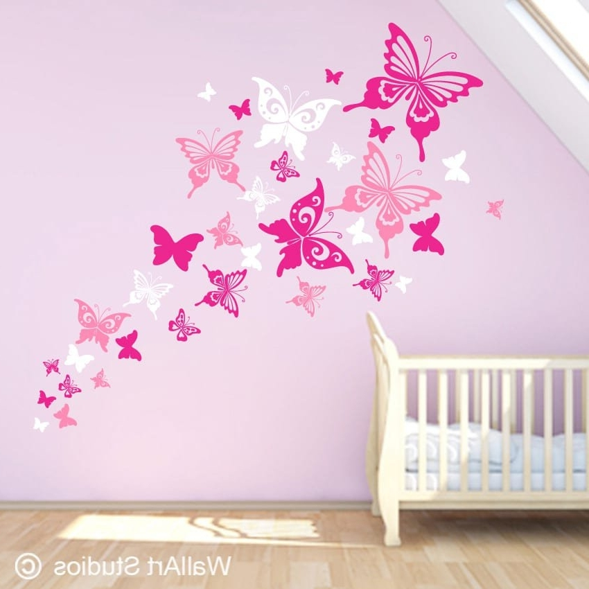 Well Known Wall Art For Girls Throughout Beautiful Butterflies Wall Art Decals (View 4 of 15)