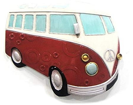 Well Known Wall Art – Metal Wall Art – Red Hippy Vw Camper Van: Amazon.co (View 9 of 15)