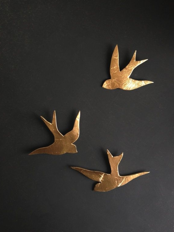 Well Known We Fly Together Gold Porcelain Wall Art Swallows Modern Ceramic Gold With Ceramic Bird Wall Art (View 14 of 15)