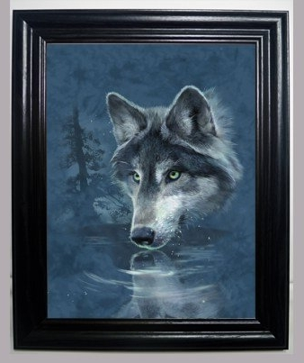 Well Known Wolf 3D Wall Art For Amazon: Lone Wolf Drinking 3D Framed Wall Art–Lenticular (View 4 of 15)