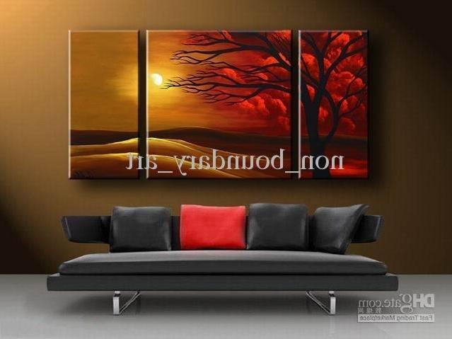 Well Liked 2018 Framed Oil Wall Art,dec Sunset Art,wall Canvas Art,modern For Modern Abstract Wall Art Painting (View 14 of 15)