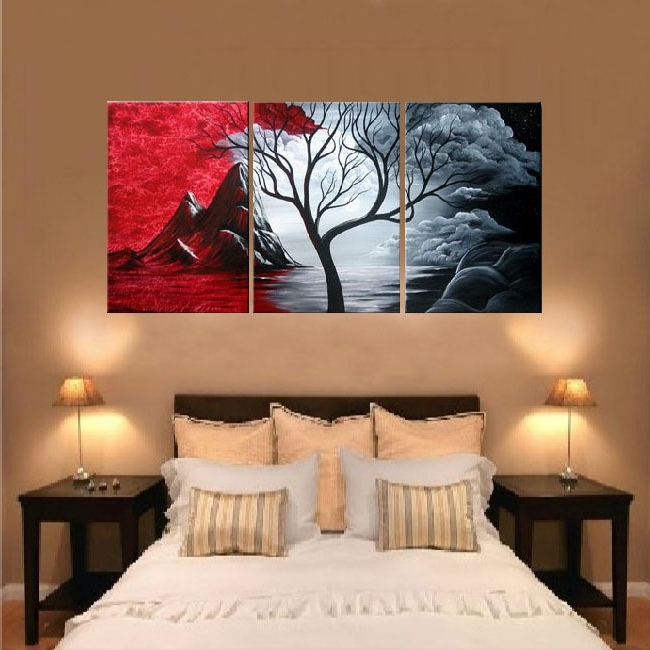 Well Liked 3 Pc Canvas Wall Art Sets Throughout Free Shipping Handpainted 3 Piece Canvas Wall Art Red Black White (View 6 of 15)