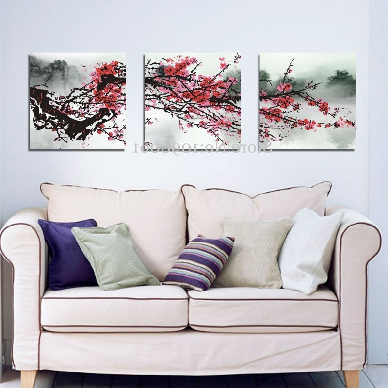 Well Liked 3 Piece Floral Canvas Wall Art Inside Hand Painted Abstract Red Cherry Blossom Flowers 3 Piece, Cherry (View 13 of 15)