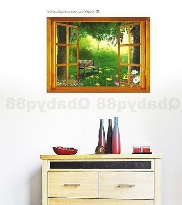 Well Liked 3D Garden Wall Art Pertaining To Window View 3D Backyard Garden Wall Art Stickers Removable Decal (View 14 of 15)