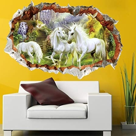 Well Liked 3D Unicorn Wall Art For Gemini Mall® 3D White Unicorn Wall Art Decal Sticker Mural Removable (View 14 of 15)