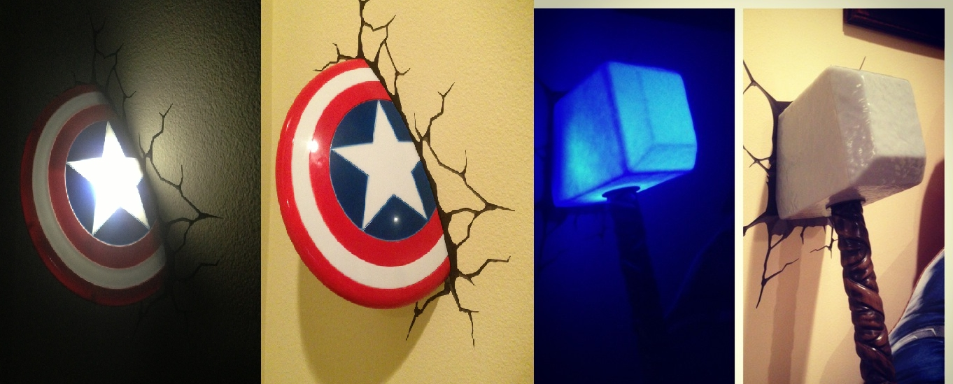 Well Liked 3D Wall Art Captain America Night Light Throughout Thor And Captain America ***ht Lights (View 8 of 15)