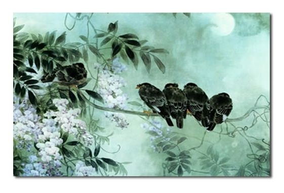 Well Liked 4 Birds On Blossom – Duck Egg Blue Canvas Wall Art Picture 30X20 Inch Regarding Duck Egg Blue Wall Art (View 15 of 15)