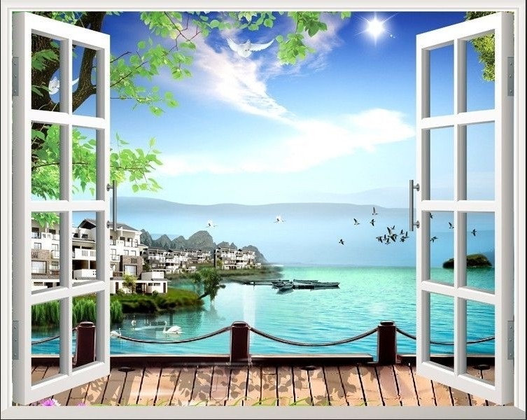 Well Liked 80*100Cm Beach 3D Window View Removable Wall Art Stickers Vinyl Home Regarding 3D Wall Art Window (View 15 of 15)