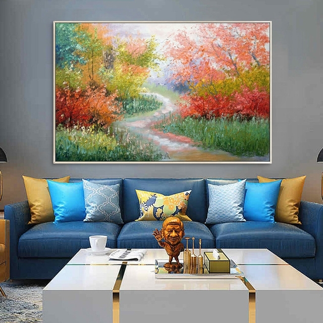 Well Liked Abstract Landscape Wall Art Inside Palette Knife Flower And Tree Painting Canvas Acrylic Painting (View 10 of 15)