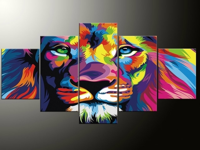 Well Liked Abstract Lion Wall Art In 5 Panel Modern Printing Abstract Picture Picture Color Lion Canvas (View 15 of 15)