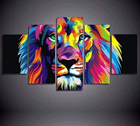 Well Liked Abstract Lion Wall Art Pertaining To 5Pcs Framed Abstract Colorful Lion Canvas Prints – 5 Piece Canvas (View 13 of 15)