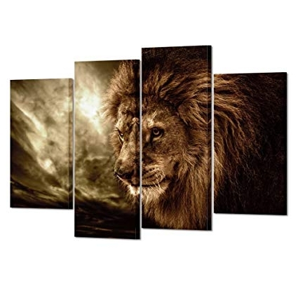 Well Liked Abstract Lion Wall Art Within Amazon: Kreative Arts – Lion Wall Art Canvas Painting Framed And (View 12 of 15)