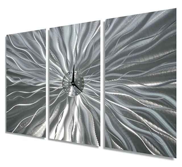Well Liked Abstract Metal Wall Art With Clock Regarding Black And Silver Wall Clocks Large Silver Etched Contemporary Metal (View 15 of 15)