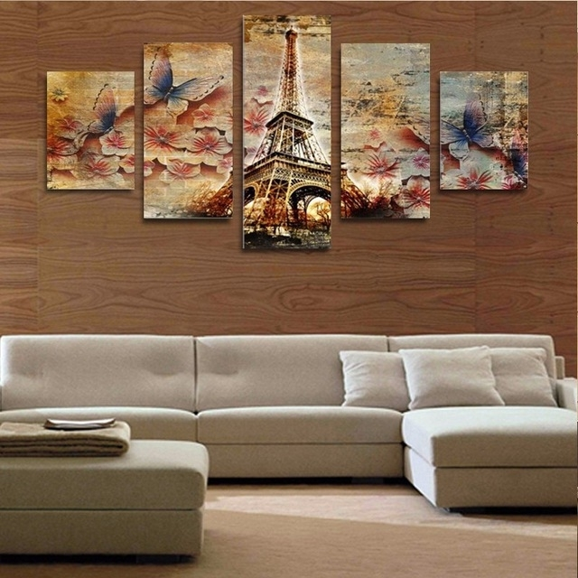 Well Liked Aliexpress : Buy 5 Piece Canvas Art 3D Butterfly Tower Home Wall For 3D Wall Art Canvas (View 2 of 15)