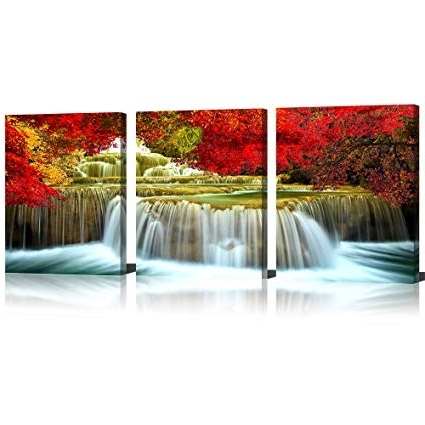 Well Liked Amazon: Mode Art Waterfall Wall Art Fine Artwork Oil Painting In Waterfall Wall Art (View 14 of 15)