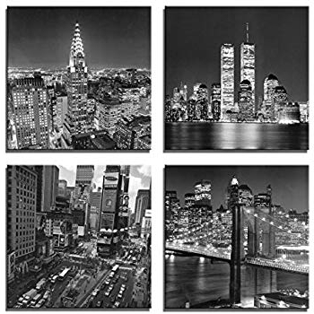Well Liked Amazon: Oriental Furniture New York Skyline Canvas Wall Art Inside New York Skyline Canvas Black And White Wall Art (View 15 of 15)