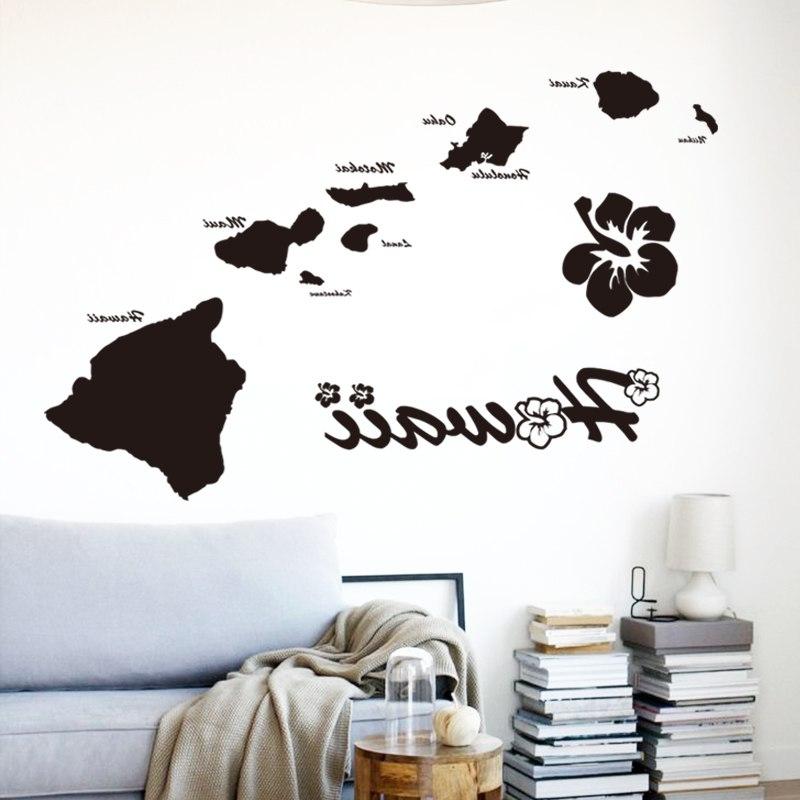 Well Liked Art Cheap Vinyl Home Decoration Hawaii Islands Wall Sticker Inside Hawaiian Islands Wall Art (View 8 of 15)