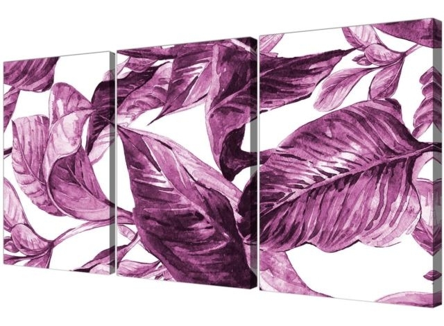 Well Liked Aubergine Wall Art Regarding Plum Aubergine White Tropical Leaves Canvas Wall Art – Multi 3 Set (View 13 of 15)