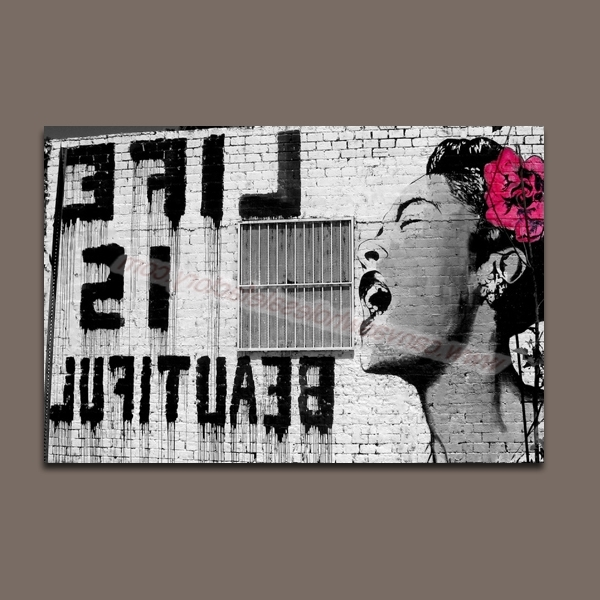 Well Liked Banksy Canvas Wall Art With Home Decor Banksy Canvas Art Painting Of Life Is Beautiful Wall (View 13 of 15)