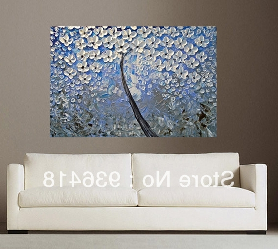 Well Liked Blue And White Wall Art For Blue Grey White Abstract Art Painting Tree Flower Large Modern (View 4 of 15)