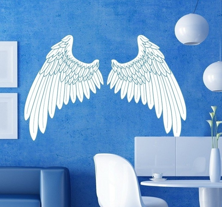 Well Liked Blue Outline Angel Wings Wall Art Sticker – Tenstickers Throughout Angel Wings Wall Art (View 8 of 15)