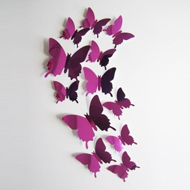 Well Liked Butterflies 3D Wall Art With Regard To 12 Pcs Wall Stickers Decal Butterflies 3D Wall Stickers Mirror Wall (View 2 of 15)