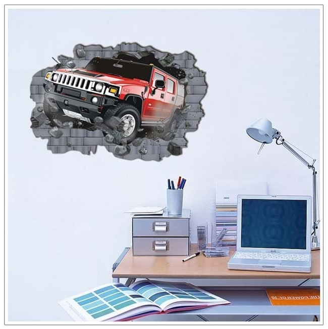 Well Liked Cars 3D Wall Art Within Removable Hummer Off Road Cars Wall Art Stickers Home Decals Room (View 12 of 15)