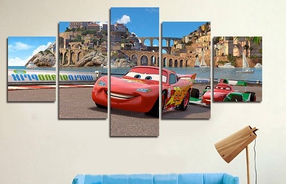 Well Liked Disney Cars Lightning Mcqueen Canvas Print Art,cars 5 Panel Canvas In Lightning Mcqueen Wall Art (View 8 of 15)