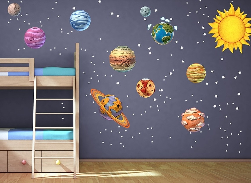 Well Liked Diy Solar System Wall Decals R Unique Solar System Wall Decals Regarding Solar System Wall Art (View 13 of 15)