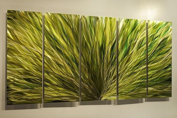 "Well Liked Emerald Plumage"" Jon Allen Large Green Modern Metal Wall Art Decor Pertaining To Large Green Wall Art (View 15 of 15)"