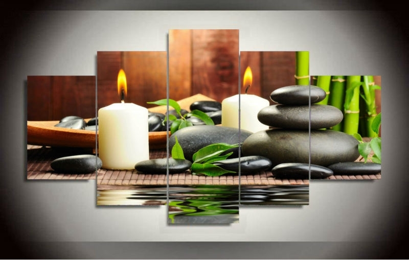 Well Liked Feng Shui Wall Art Pertaining To Wall Art Botanical Green Feng Shui White Candle Wall Painting Canvas (View 11 of 15)